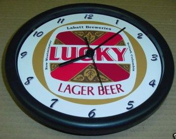 Lucky Lager Beer 14 inch Wall Clock Canada
