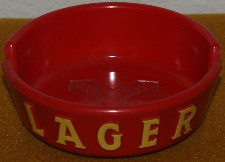 Lucky Lager Red Vintage Ashtray Lager Side
