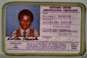 Michael Jackson's First Motown Employee ID Pass Card
