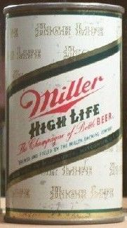 Miller Beer Flat top Can Green Writing Large Logo