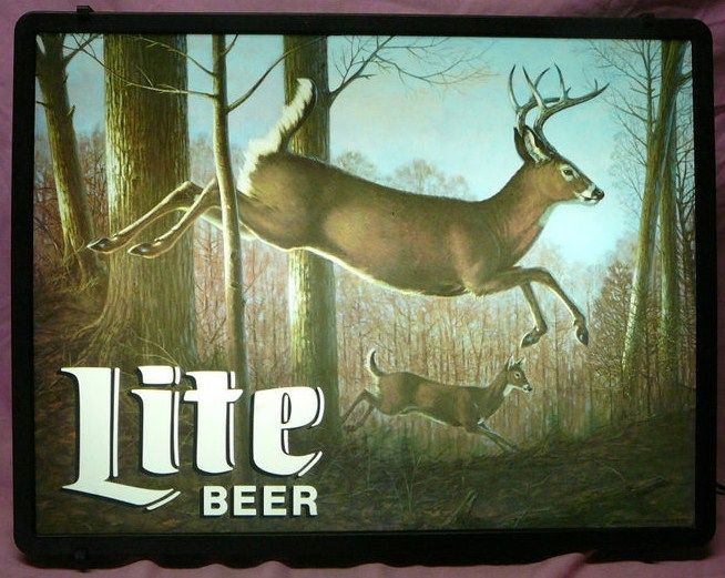 Miller Lite Lighted Beer Sign Deer in the Woods
