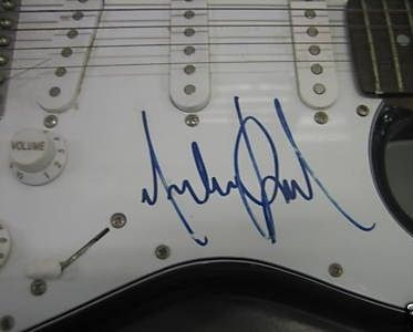 Michael Jackson Autographed Guitar Close Up Signature