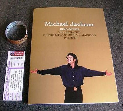 Michael Jackson memorial Program w/Wristband and ticket