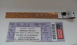 Michael Jackson Memorial Ticket &amp; Wristband