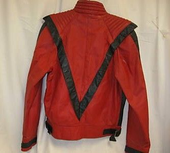 Michael Jackson Thriller style red black leather jacket back