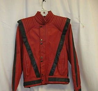 Michael Thriller style red black leather jacket front