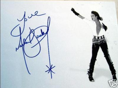 Michael Jackson autograph on A4 picture with COA