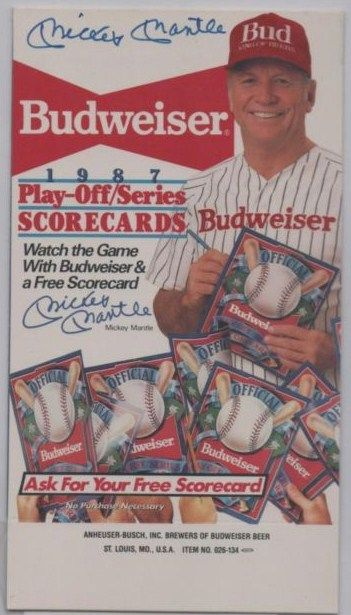 Mickey Mantle Autograph Budweiser Stand Up