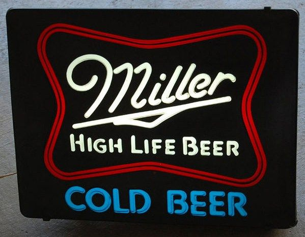 Miller High Life Illuminated Beer Sign 1982