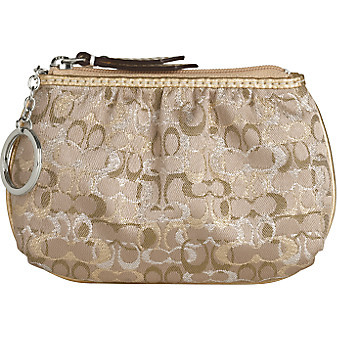 Coach Style 42035 Mini Skinny Lurex Coin Purse Gold Silver