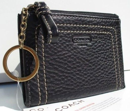 Pebble Leather COACH Mini Skinny Wallet Black