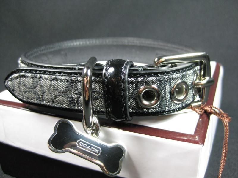New Coach Signature Black Leather Dog Collar sm 60364