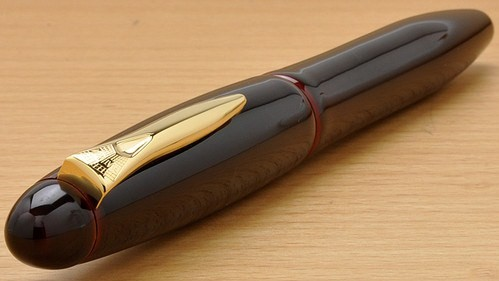 New Platinum Izumo Series Urushi Dark Red Tamenuri Lg 18kt Fountain Pen