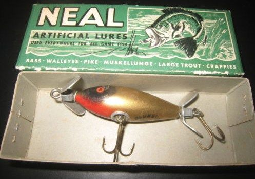 New in Box Neal Vintage Fishing Lure Gold Columbus