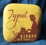 Old Typal Ribbon Tin Box Container