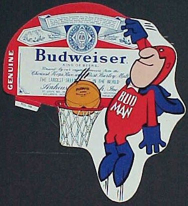Vintage 1974 Bud Man Basketball Player Barware Tin Sign