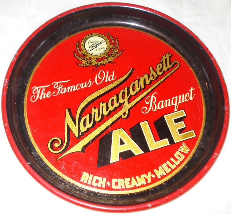 Old Narragansett Banquet Ale Tin Beer Serving Tray