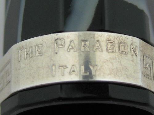 Omas Paragon Black/White Marbled Close Up Engraving on Band