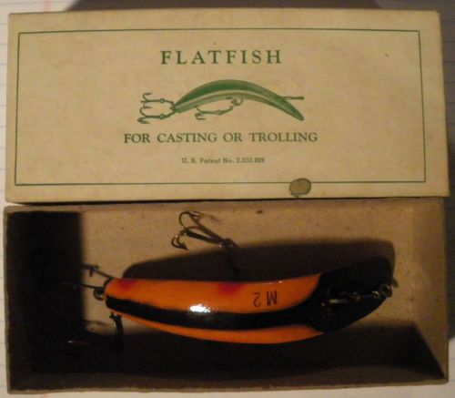 Original Wood Helin Muskie Flatfish Lure M-2 1940s