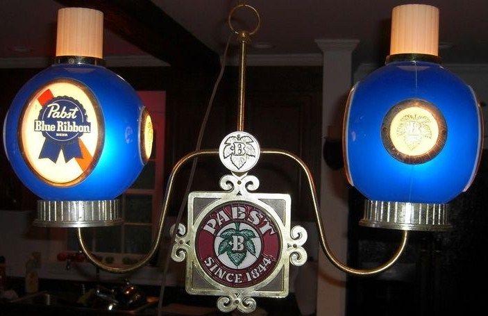 Pabst Blue Ribbon Beer Hanging 2 Globe Light up Scones