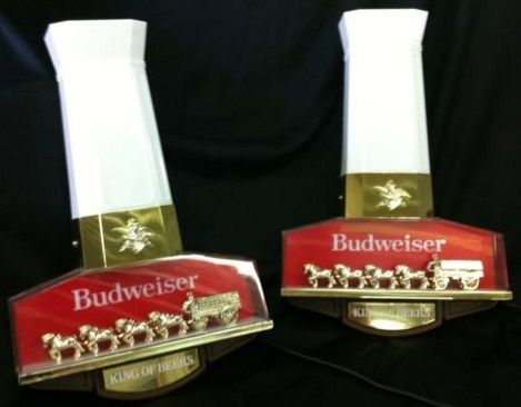 Pair Vintage Budweiser Clydesdales Back Bar Lights
