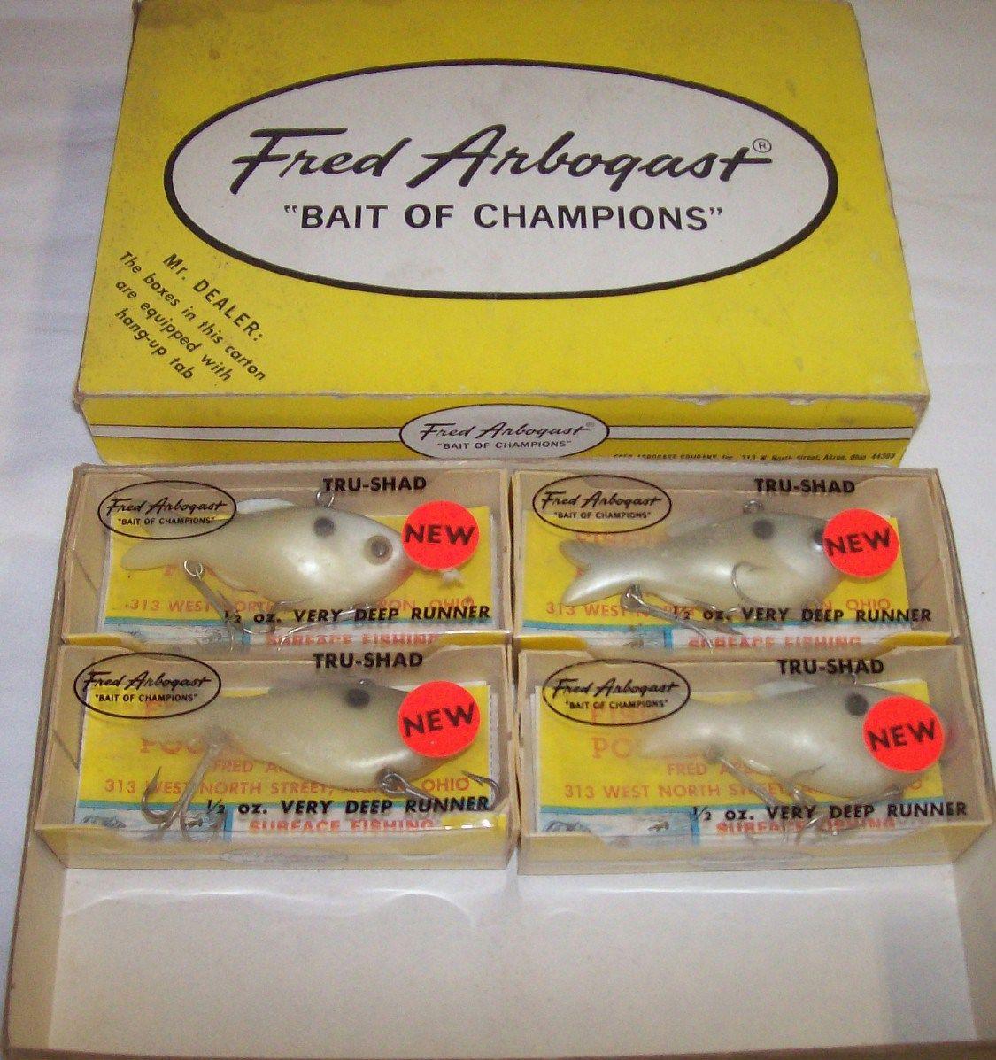 Dealer Box of 4 Fred Arbogast Tru Shad Vintage Fishing Lures