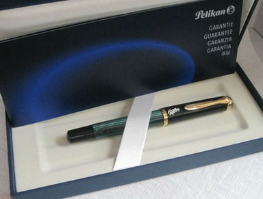 Pelikan M400 Milka Piston Fountain Pen Black/Green/Gold Nib