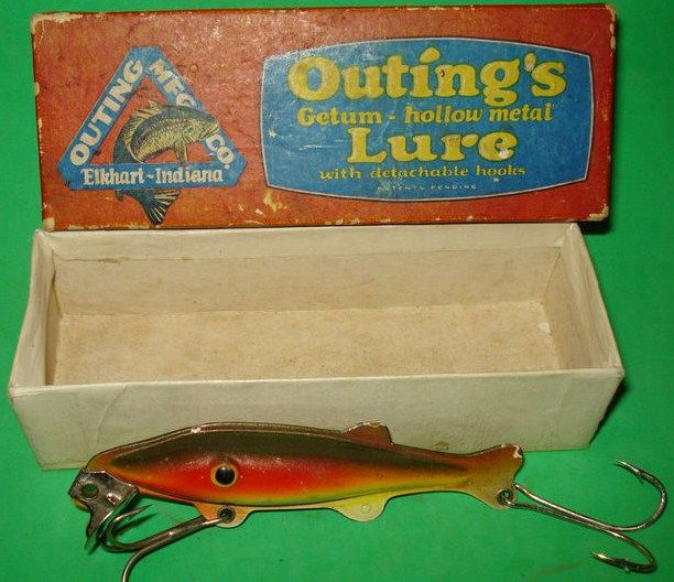 Piky Getum Vintage Hollow Metal Fishing Lure w Box Indiana