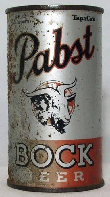 Pabst Bock Flat Top Beer Can w Opening Instructions