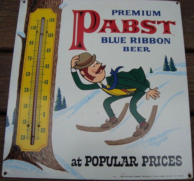 Pabst tin Thermometer mid-century