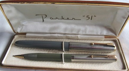 Parker 51 Pen-Pencil Set/Vacumatic Blue Diamond w/Box