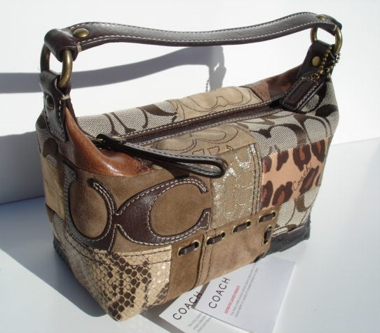 Patchwork Top Handle Pouch with Snake Skin