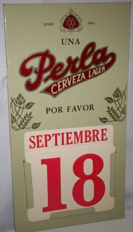 Pearl Beer 'Perla' Spanish Perpetual Calendar Sign Texas