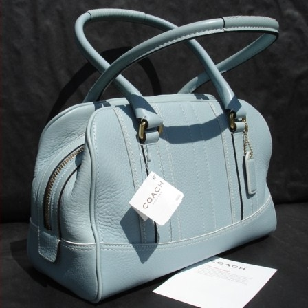 Pebble Leather Blue Satchel
