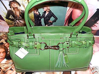 Pebble Leather Kelly Green Satchel