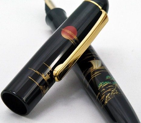Platinum Urushi Makie Landscap 14K Gold M Point Fountain Pen