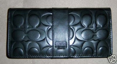 Quality embossed signature leather wallet black