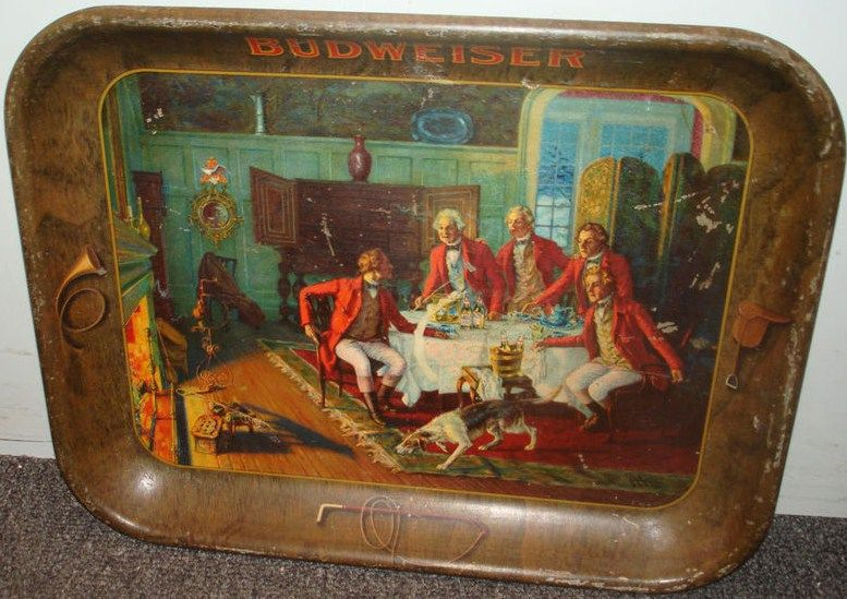 Antique Budweiser Metal Beer Tray 1933