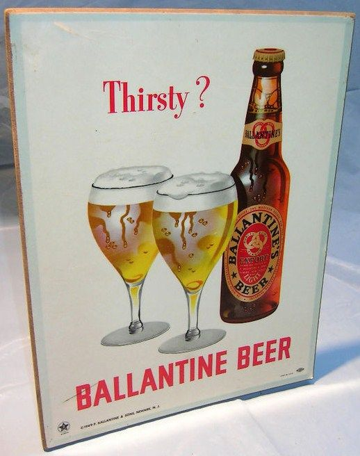 Rare 1949 Ballantine Beer Masonite Bartop Advertising Sign