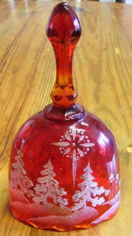 Red Fenton Christmas Bell with Sticker D Clapinger