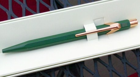 Rolex Pen Made by Caran D' Ache Blue Ink Green w Gold clip Swiss