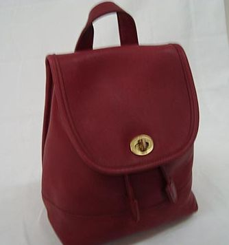 Red Leather Coach Backpack