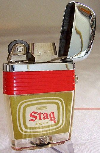 Scripto VU Lighter Red Band Stag Beer