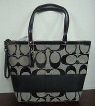 Signature Black Stripe Tote Purse