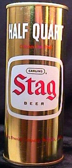 Stag Beer Lat 1960s Half Quart Pull Tab Can