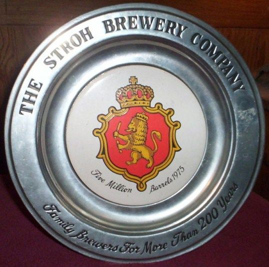 Stroh's Brewery Wilton Pewter 1975 5Mil Barrel Plate
