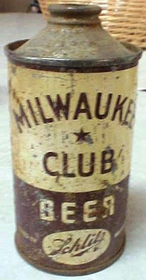 Schlitz Milwaukee Club Cone Top IRTP Beer Can
