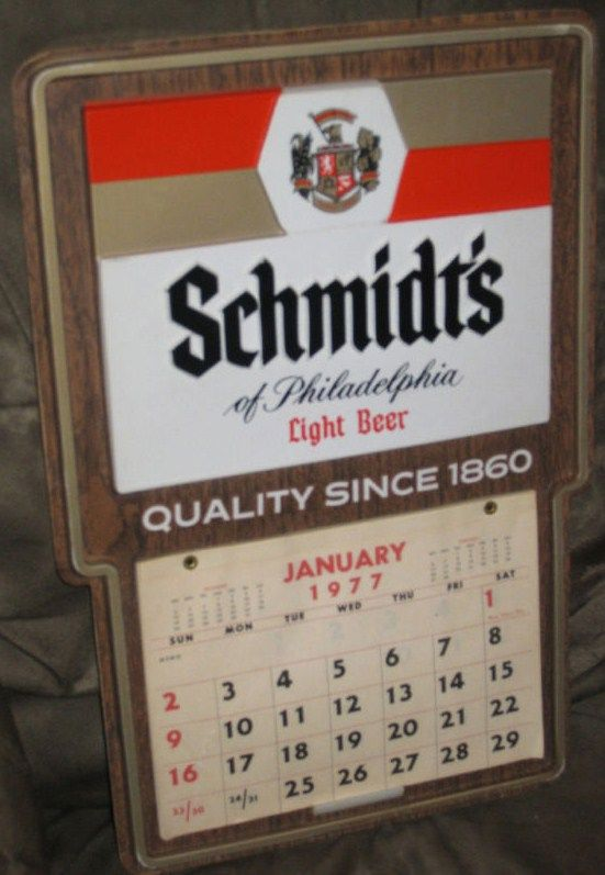 Schmidts Light Beer Vintage Bar Sign Calendar 1977