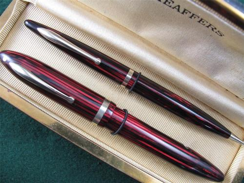 Sheaffer Red Striated Oversize Lever Fill Balance Fountain Pen