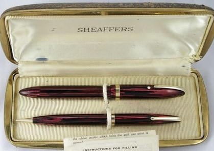 Sheaffer Lifetime Balance Set Carmine Red Striped Military